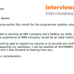 Example Follow-Up Letter After Submitting a CV
