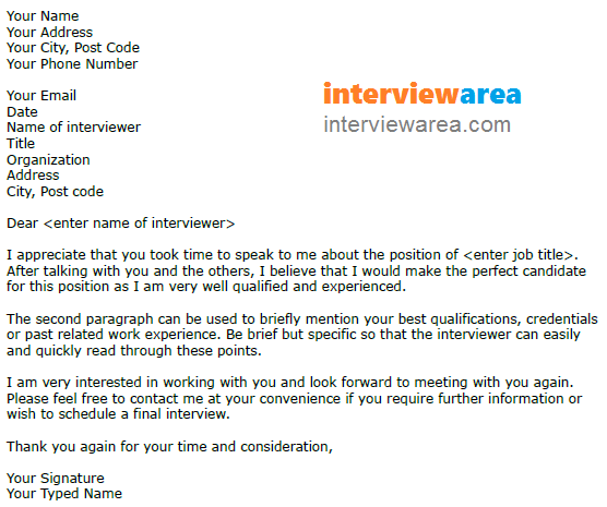 Interview Thank You Letter Scheduling A Follow Up Interview And