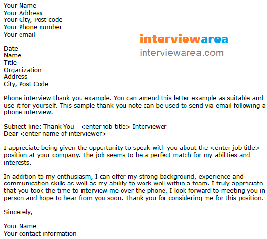Thank You Letter For Phone Interview Sample from www.interviewarea.com